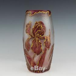 Legras Mont Joye Cameo Irises Vase c1900