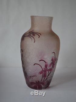 Legras Signed Cameo Art Glass Vase -ovington Ny, France