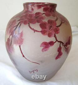 Legras antique round vase from Rubis collection frosted cameo glass
