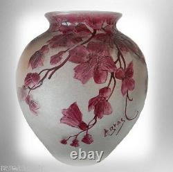 Legras cameo vase with cranberry floral and design