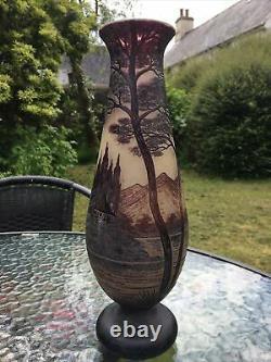 Loetz France Cameo Art Glass Rare Vase Jar signed Richard / River Trees scenery
