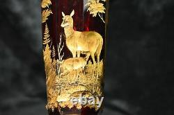 MOSER Ruby & Gold Footed Cameo Vase with Deer Scene Decoration