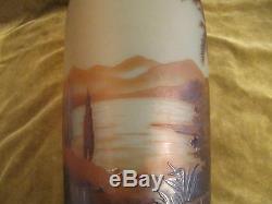 Magnificent rare french original cameo art glass Vase D'argental Como lake 33cm
