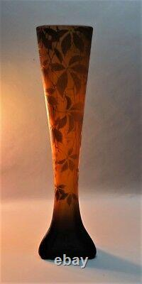 Massive 24 Signed DAUM ART NOUVEAU Cameo Glass Vase c. 1900 antique French