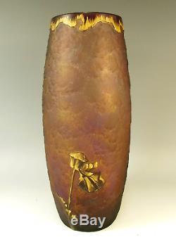 Mauve Legras Mont Joye Cameo Cut Acid Etched Gilded Glass Poppy Vase
