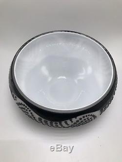 Modern GLASS ART BOWL BLACK WHITE Vintage Cut Cameo Contemporary Vase