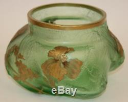 Mont Joye Legras Cameo Ice Chipped Vase/bowl Unusual Form
