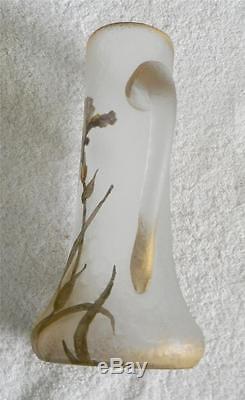Mont Joye (Legras and Cie) cameo glass pitcher enamelled iris gold decoration