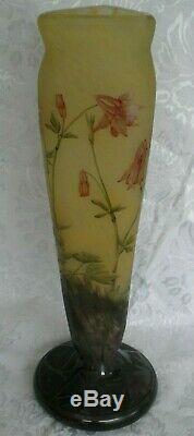 Monumental DAUM NANCY Columbine Cameo Glass Vase ca1910, Acid Etched & Enameled