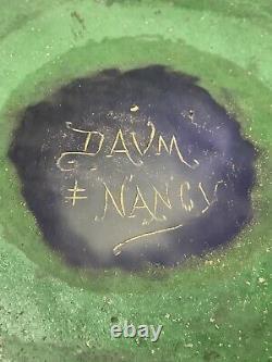 Monumental Signed Daum Nancy Violettes Vase. Enamel French Cameo Glass. Antique