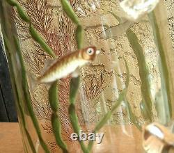 Moser Fish Cameo HP Glass Pitcher Stein Tankard Lion Galle Tiffany Era Enameled