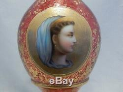 Moser Glass Cranberry Tall Vase Porcelain Cameo of Lady