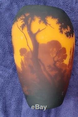 Muller-Freres Large Cameo Glass Landscape Vase