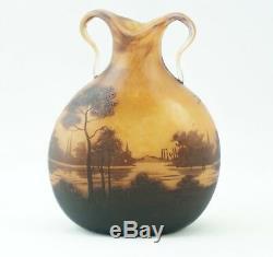 Muller Freres Luneville Cameo Landscape vase 1900