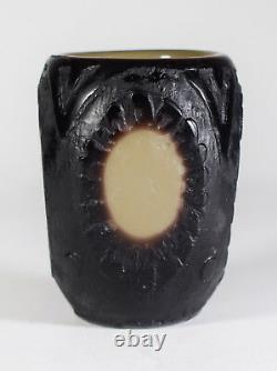 Muller Freres Luneville Mini Acid Cameo Art Glass Vase Circa 1930