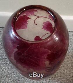 ON SALE Large 11 Legras French Cameo Art Glass Vase Stunning
