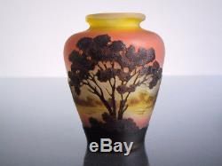 ORIGINAL EMILE GALLE NANCY PAYSAGE 9cm CAMEO JUGENDSTIL VASE ART NOUVEAU GLASS