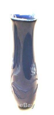 Original 1979 Valerie Surjan Art Studio Glass Signed Cameo Vase Cobalt Etched