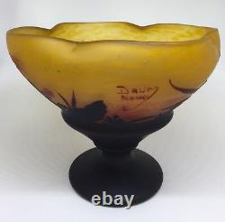 Original Daum Nancy Wheel Cut Cameo Glass Floral Compote 1905-1910