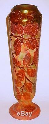 Original Large 12 Daum Nancy Cameo Glass Floral Vase