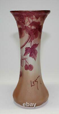 Original Legras Cameo Glass Leaf & Berry Vase