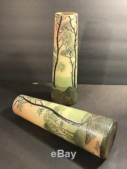 Pair Of Antique Signed Legras French Art Glass Vase/ Cameo & Enamel / Circa 1925