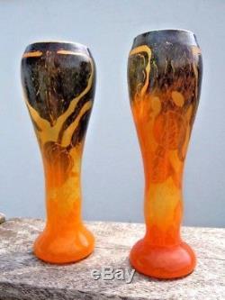 Paire vases Le Verre Français décor Houblon Cameo Glass d'époque Art Nouveau