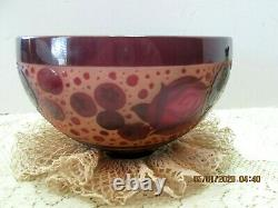 Paul Nicolas Bowl Nancy France Signed Art Glass Burgundy-Rose French Cameo Art