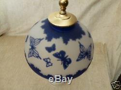 Pilgrim Cameo Glass Lamp Kelsey Murphy Cobalt Blue Butterflies West Virginia