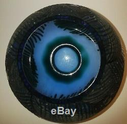 Pilgrim Cameo Glass Peacock Feather Vase Bowl Signed Kelsey 2001