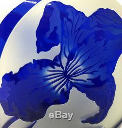 Pilgrim Cameo IRiS AURORA Cobalt Blue Kelsey Murphy Signed Art Glass 12 VASE