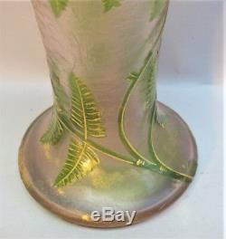 Pink 16 MONT JOYE FRENCH Art Nouveau Cameo Glass Vase FERNS c. 1910 antique