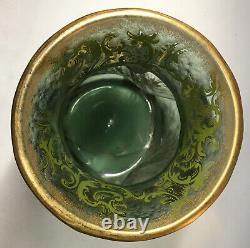 RARE Antique French Legras Green Cameo Twist Glass Enamel Gilt Mont Joye Vase