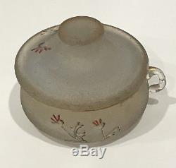 RARE! Daum Nancy Miniature Enameled Cameo Glass Salt Cellar Pot Art Nouveau