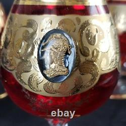 RARE MURANO VENETIAN RUBY RED GLASSES With24 KT GOLD & CAMEO DECANTER GOBLETS SET