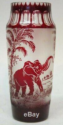 RARE Moser Cameo Ruby Art Glass Elephant Vase Cut to Clear & Frosted Animor