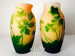 RARE PAIR 1918-1929 CAMEO ART GLASS, 6 VASES by FRENCH ARTIST for ARSALL Signed