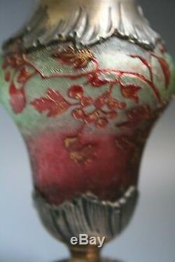 Rare Antique French Art Nouveau Daum Nancy Cameo Etched Glass Sifter Circa 1900