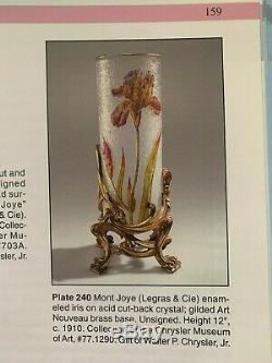 Rare Antique Mont Joye (legras) Cameo Art Glass Vase Bronze Base Free Us Ship