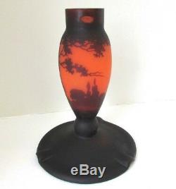 Rare Antique Muller Fres Lunesville Signed Cameo Glass Forest Scene Lamp Base