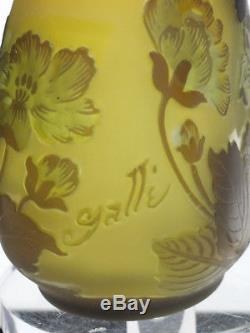 Rare Art Nouveau Signed Tip Galle Etched Cameo Vase 4 5/8 H