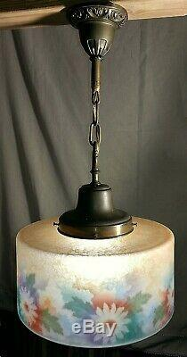 Rare BELLOVA Glass Shade Hanging Light Fixture Cameo Acid Etched Reverse Painted