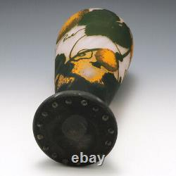 Rare Daum Pumpkins Cameo Glass Vase c1910