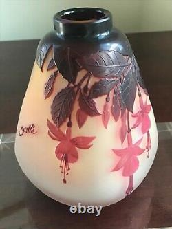 Rare & Early Emile Gallé Fuchsia Vase Ca 1900, Cameo Signed