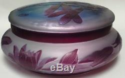 Rare Emile Galle Libellule, nymphéas' Covered Cameo Glass Round Box Dragonfly