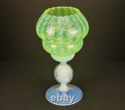 Rare Empoli Italy Hand Blown Opaline Vaseline Glass Latticino & Cameo Rose Bowl