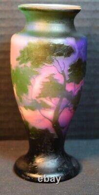 Rare Fine Four Color Muller Freres Cameo Glass Landscape Vase