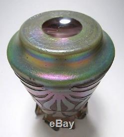 Rare KRALIK Iridescent Etched Cameo Art Glass Vase ca. 1900 Loetz Rindskopf Era