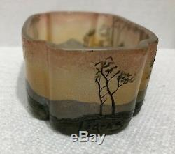Rare Legras Miniature Cameo & Enamel Art Glass Bowl