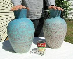 Rare Pair Thomas Webb & Sons Matching LARGE 14 Cameo Glass Vases Museum Quality